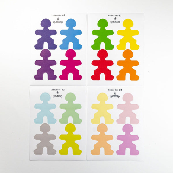 Flockmen Coloured Sticker Set - 16 Colours
