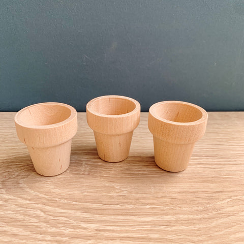 Mini Wooden Flower Pots