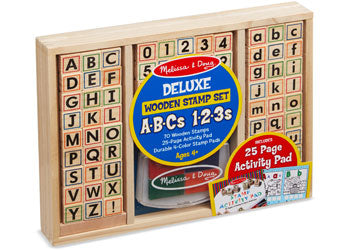 Deluxe Wooden ABC-123 Stamp Set