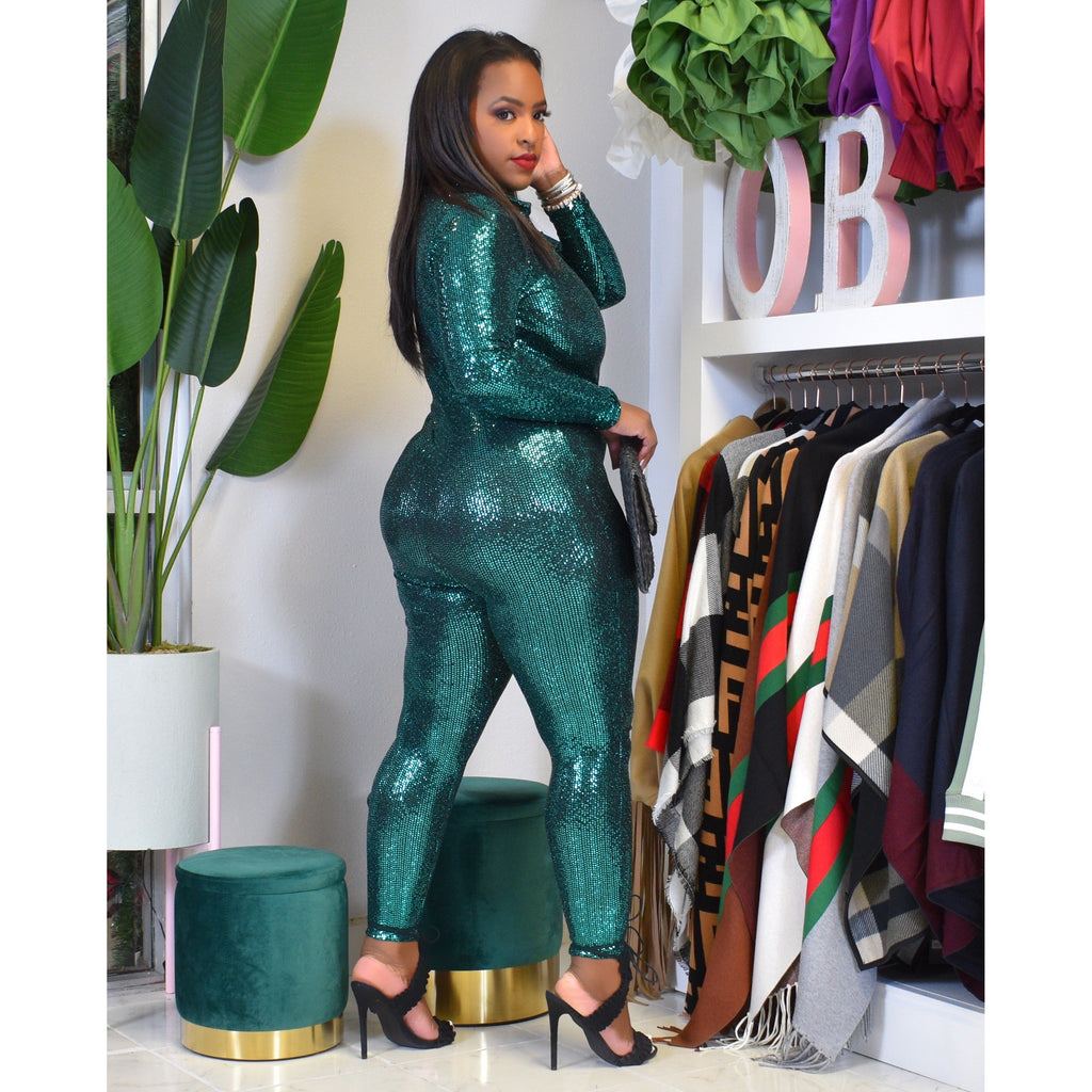 "ALLEGRA SEQUINS JUMPSUIT ""HUNTER GREEN"""