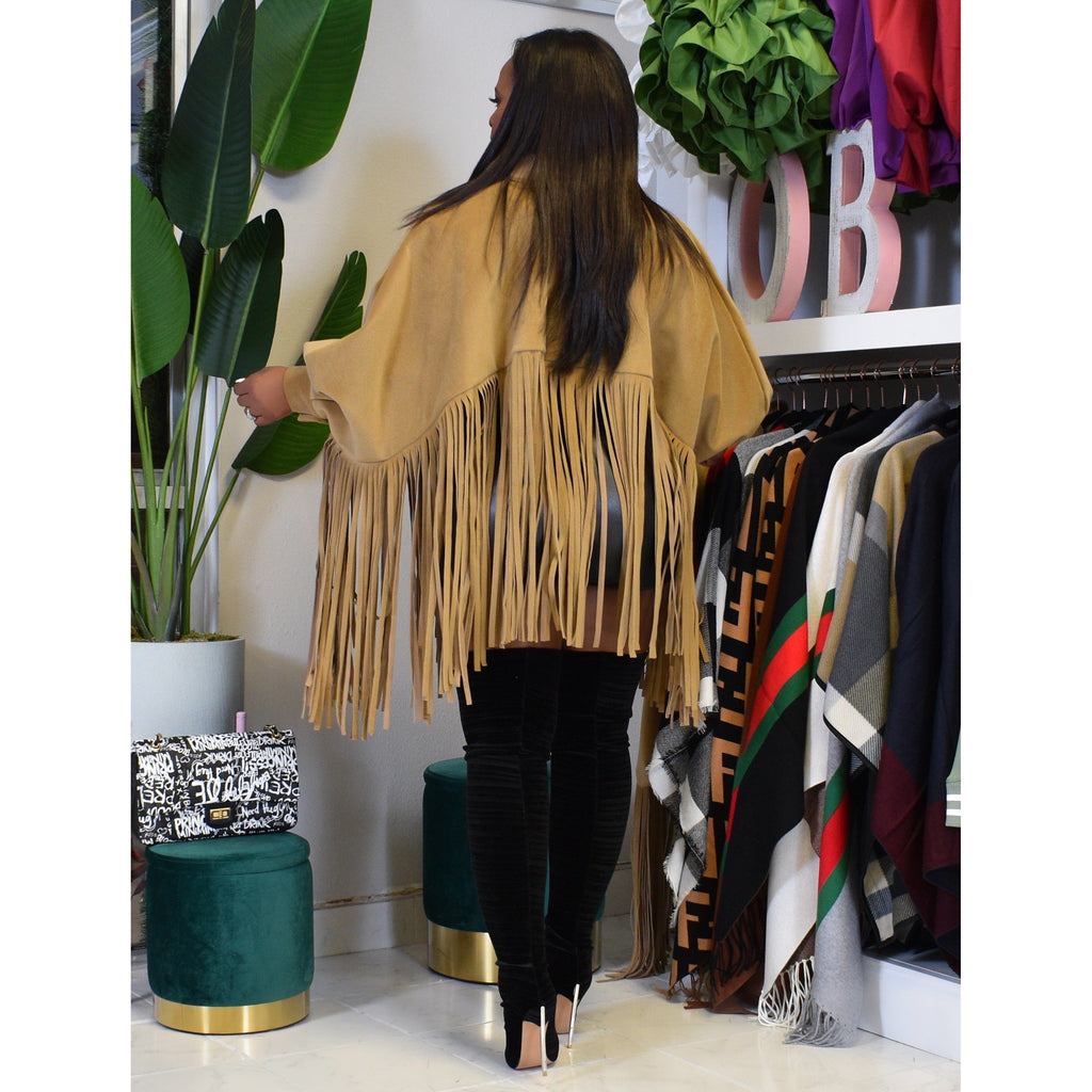 "ALL ABOUT THE FRINGES PONCHO ""CAMEL"""