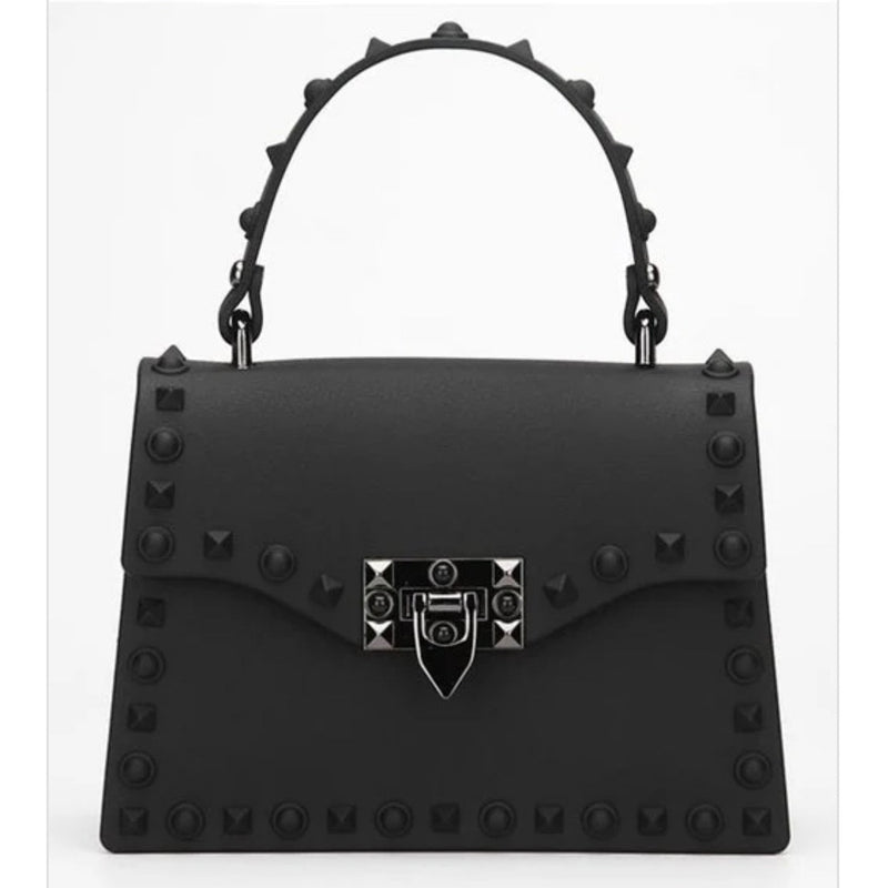 "LUX MINI STUDDED JELLY  BAG ""BLACK"""