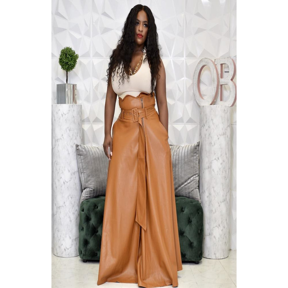 "BAIE LEATHER SKIRT ""COGNAC"""