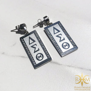 "DST ""Debra"" Vertical Symbols Earrings (Stainless Steel)"