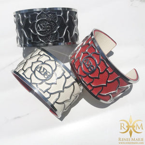 DST Interchangeable Leather Floral Bracelet (Stainless Steel)