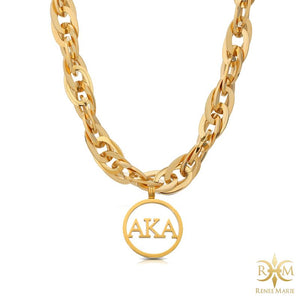 "AKA ""Techno Gold"" Stainless Steel Necklace"
