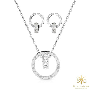 "ZΦB ""Eternity"" Necklace & Earrings Set (Stainless Steel)"