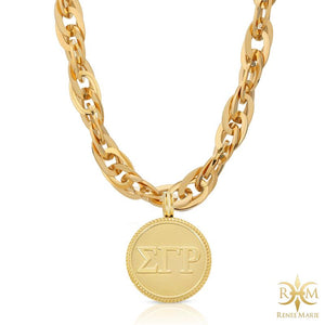 "ΣΓΡ ""Techno Gold"" Stainless Steel Necklace"