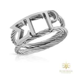 ΣΓΡ Symbols Rope Ring (Stainless Steel)