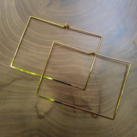 Gold Rectangle Hoops
