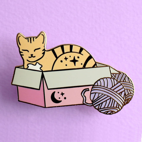 Box Cat Enamel Pin