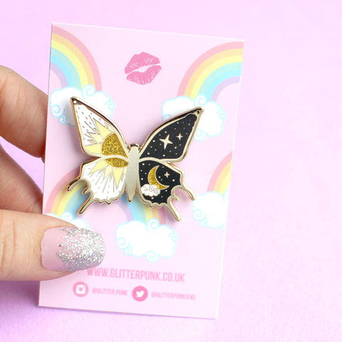 Yin and Yang Butterfly Enamel Pin