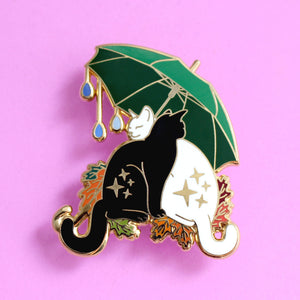 Umbrella cats enamel pin