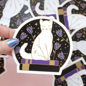 Book cat sticker