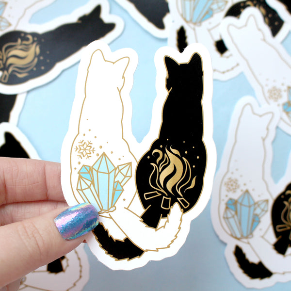 Fire & ice cats sticker