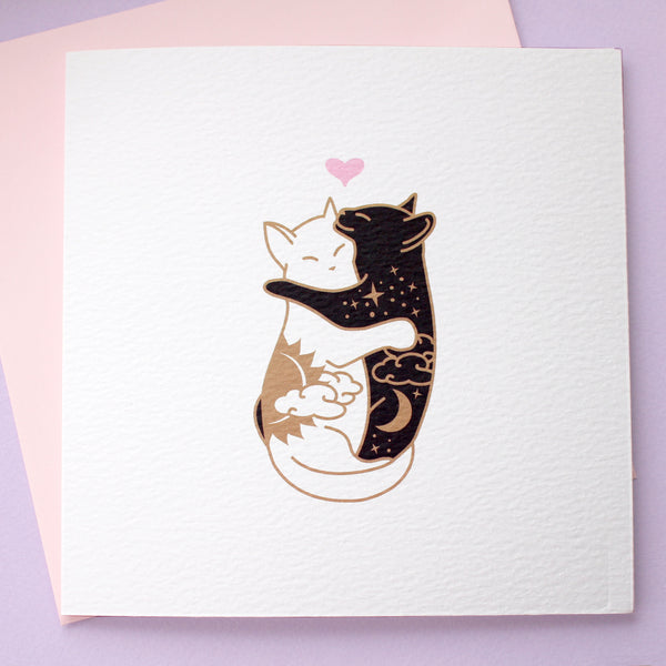Day & Night Hugging Cats Card