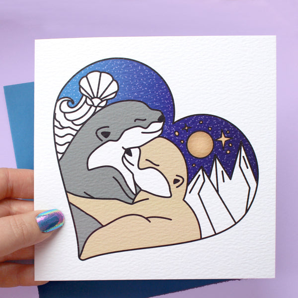 Land & Sea Hugging Otters Card