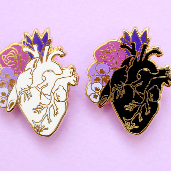 Anatomical heart enamel pin