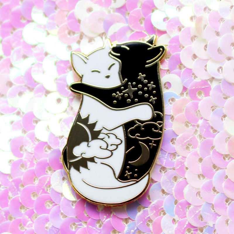 Day & Night Hugging Cat Enamel Pins