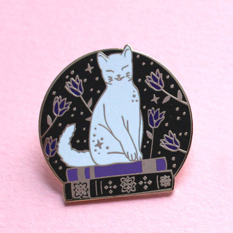Book Loving Cat Enamel Pin