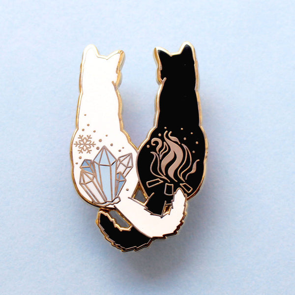 Fire & Ice Cats Enamel Pin