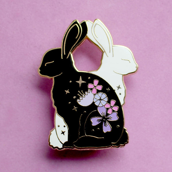 Flower Rabbits Enamel Pin