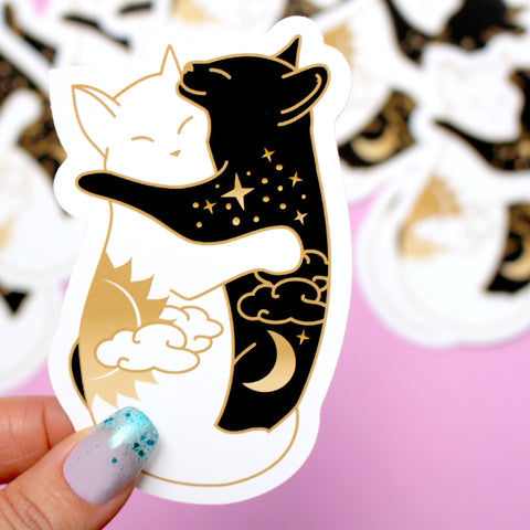 Day & Night Hugging Cats Sticker