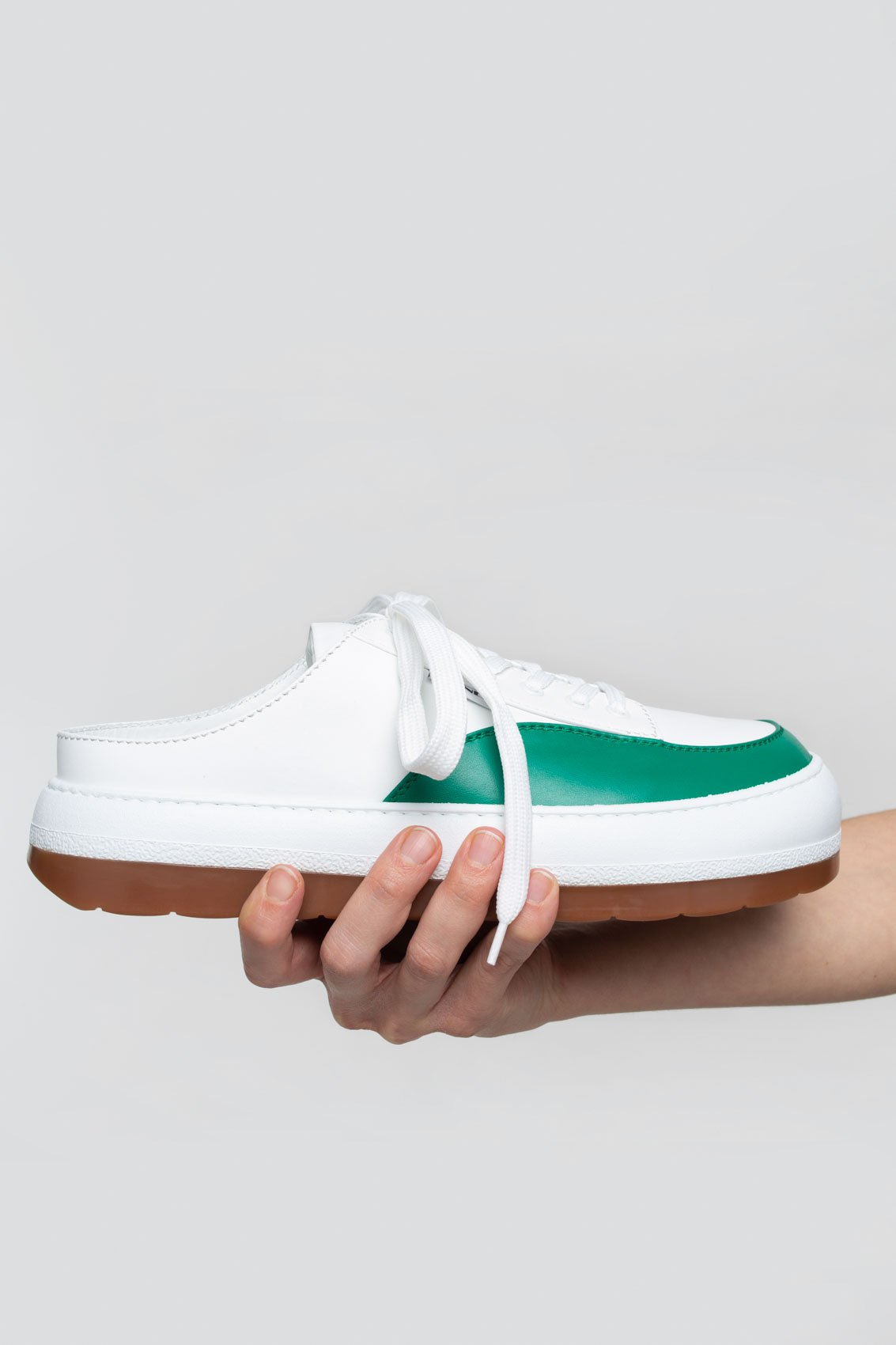 GREEN & WHITE LEATHER DREAMY SABOT