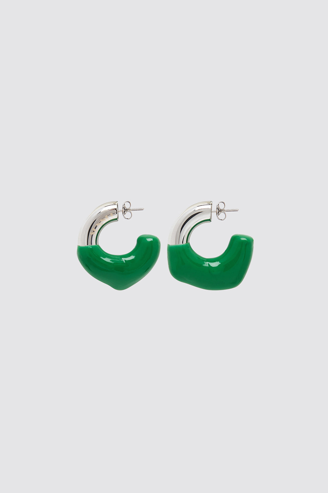 DARK GREEN RUBBERIZED SMALL SILVER EARRINGS