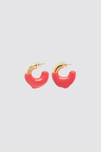 RED RUBBERIZED SMALL GOLD EARRINGS