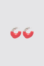 Load image into Gallery viewer, RED RUBBERIZED SMALL SILVER EARRINGS