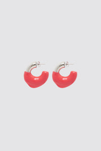 RED RUBBERIZED SMALL SILVER EARRINGS