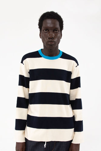 STRIPED KNIT LONGSLEEVES T-SHIRT