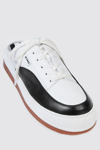 WHITE & BLACK LEATHER DREAMY SABOT