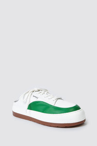 WHITE & GREEN LEATHER DREAMY SABOT