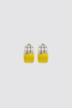 Load image into Gallery viewer, YELLOW RUBBERIZED TRIPLE SILVER EARRINGS