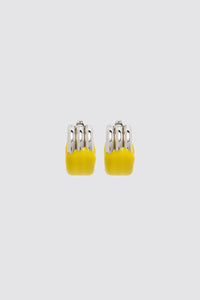 YELLOW RUBBERIZED TRIPLE SILVER EARRINGS
