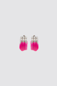 FUCHSIA RUBBERIZED TRIPLE SILVER EARRINGS
