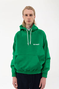 GREEN HOODIE WITH LOGO