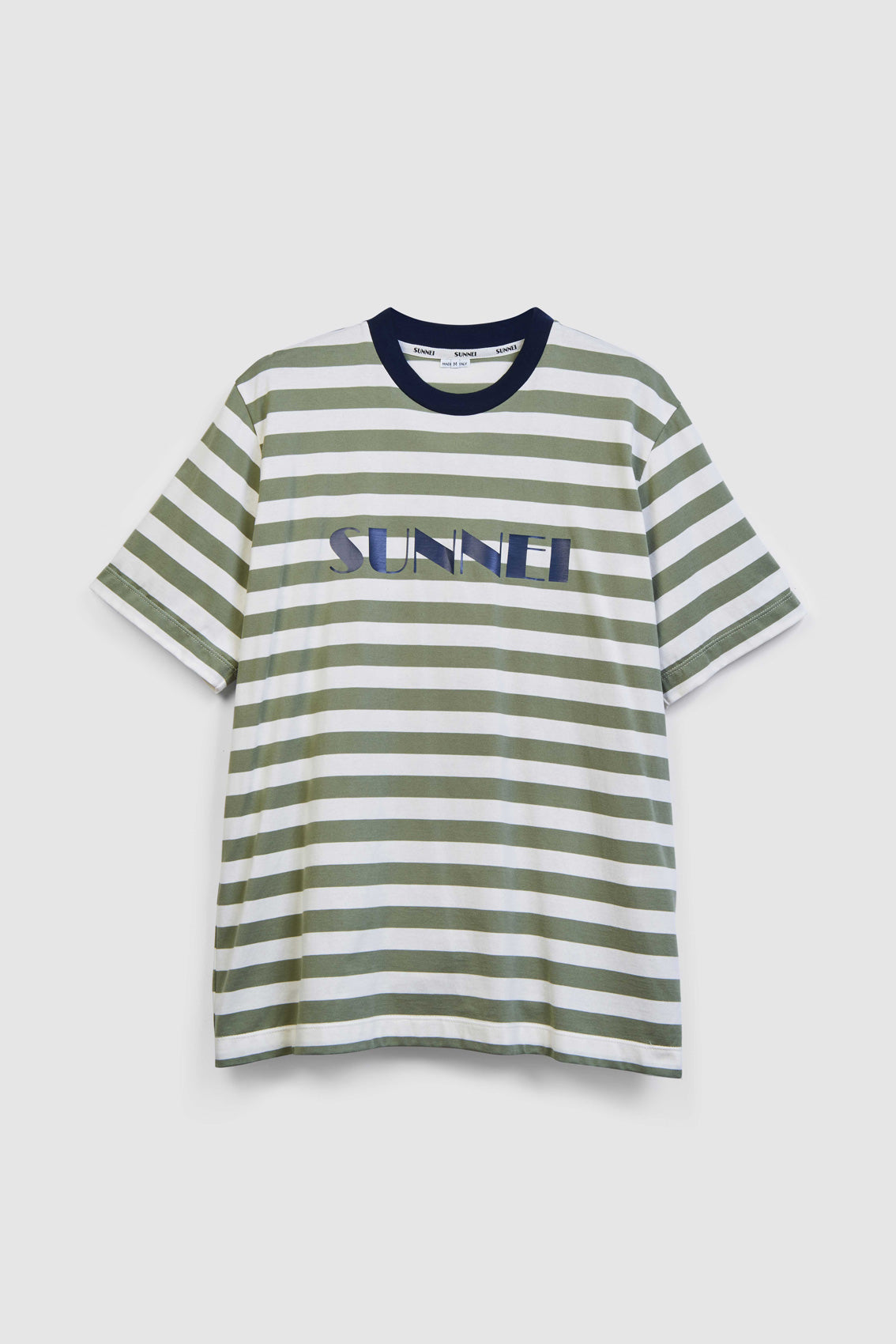 OLIVE STRIPES T-SHIRT WITH LOGO