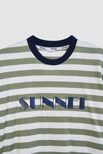 Load image into Gallery viewer, OLIVE STRIPES T-SHIRT WITH LOGO