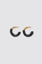 Load image into Gallery viewer, BLACK RUBBERIZED TRIPLE GOLD EARRINGS