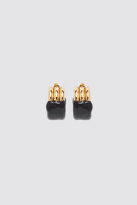 BLACK RUBBERIZED TRIPLE GOLD EARRINGS