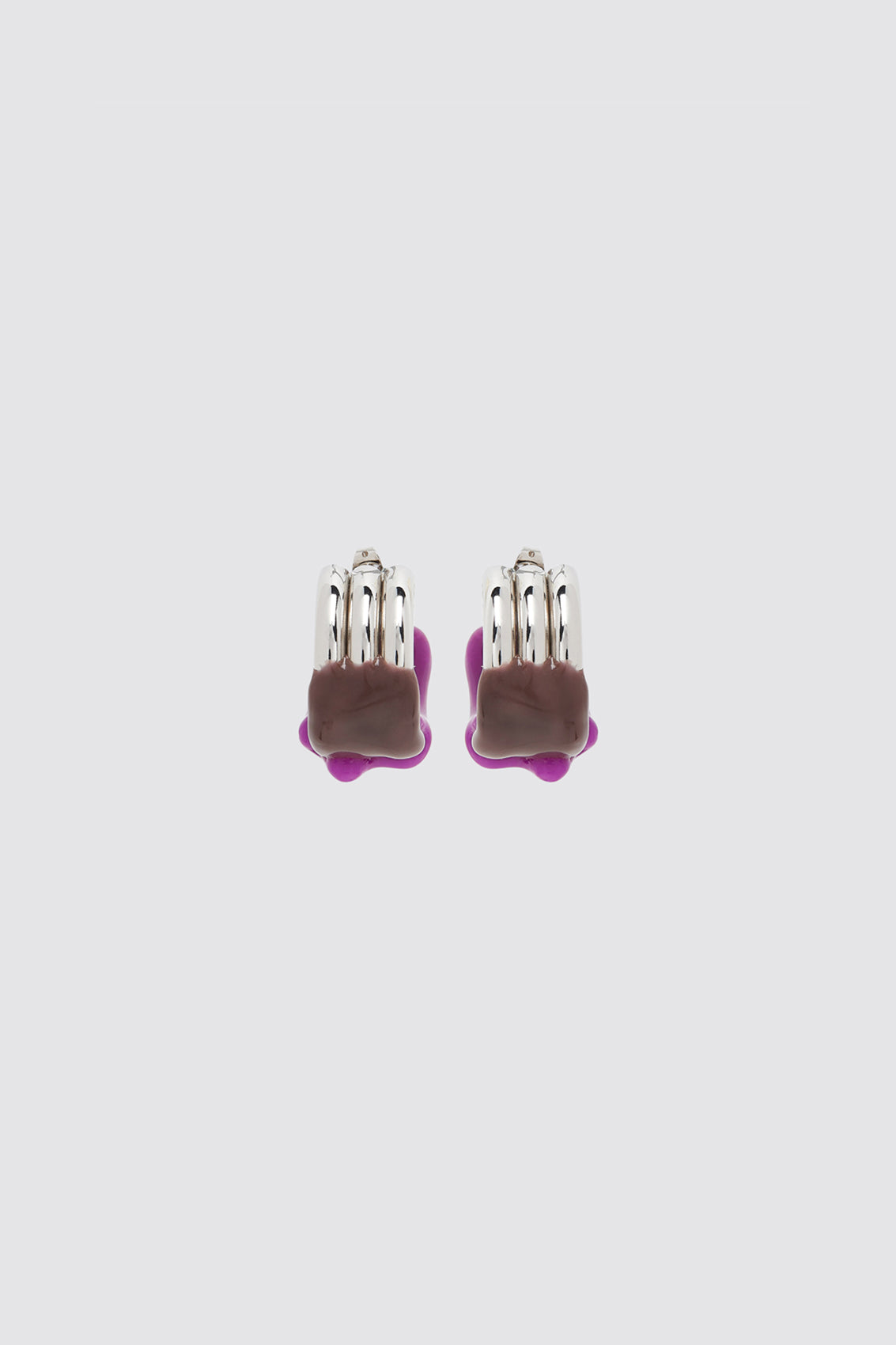 PURPLE & BROWN RUBBERIZED TRIPLE SILVER EARRINGS