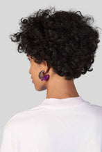 Load image into Gallery viewer, PURPLE & BROWN RUBBERIZED TRIPLE SILVER EARRINGS