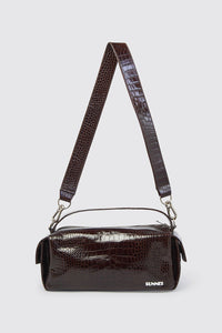 BROWN CROCO-EMBOSSED LEATHER LABAULETTO BAG