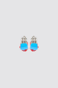 RED & AZURE RUBBERIZED TRIPLE SILVER EARRINGS