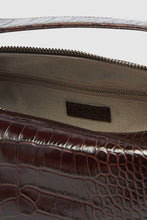 Load image into Gallery viewer, BROWN CROCO-EMBOSSED LEATHER LABAULETTO BAG