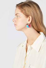 Load image into Gallery viewer, RED & AZURE RUBBERIZED TRIPLE SILVER EARRINGS