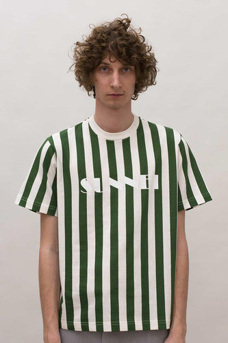 WHITE & GREEN STRIPED T-SHIRT